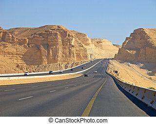 Road in desert - Road in the desert. Riyadh-Makkah highway,...
