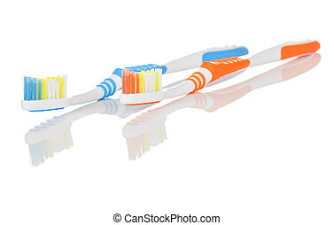 Blue and Orange Toothbrushes - Pair of Orange and Blue...