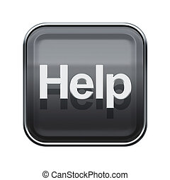 Help icon glossy grey, isolated on white background
