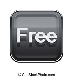 free icon glossy grey, isolated on white background