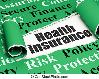 Insurance concept: black text Health Insurance under the piece of  torn paper
