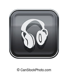 headphones icon glossy grey, isolated on white background.