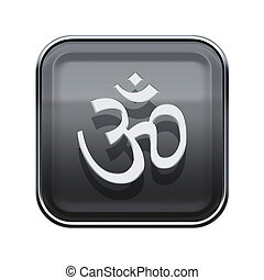 Om Symbol icon glossy grey, isolated on white background