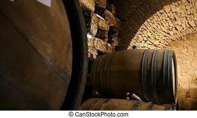 Wine Cellar With Barrels In Stacks - Dolly shot of the wine...