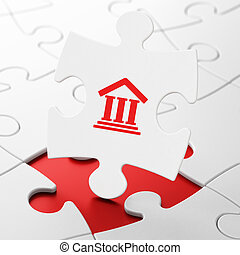 Law concept: Courthouse on puzzle background - Law concept:...