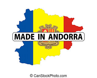 made in andorra country national flag map shape with text