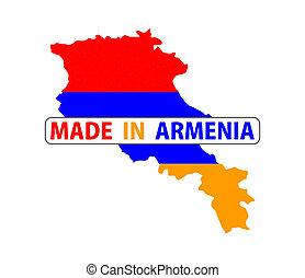made in armenia country national flag map shape with text