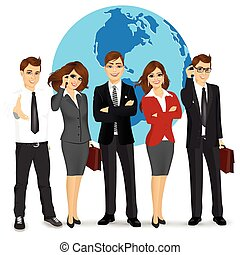 team of successful businesspeople standing in front world...