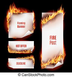 Fire banners - Hot fire banners set with orange flames for...