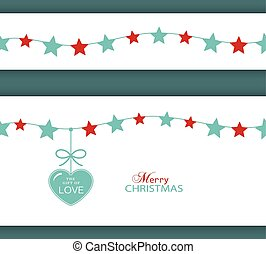 Christmas star border and heart. The Gift of Love - Set of...