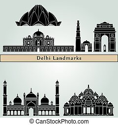 Delhi Landmarks - Delhi landmarks and monuments isolated on...