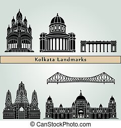 Kolkata Landmarks - Kolkata landmarks and monuments isolated...