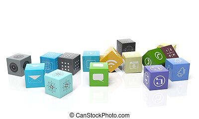 Various apps in shape of a cube, isolated on white background.