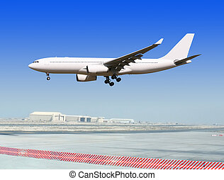 liner at the airport - big passenger airplane is landing to...