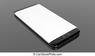 Smartphone blank screen template, isolated on black background.