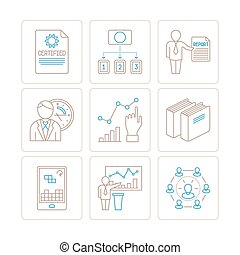 Set of business or finance icons and concepts in mono thin...
