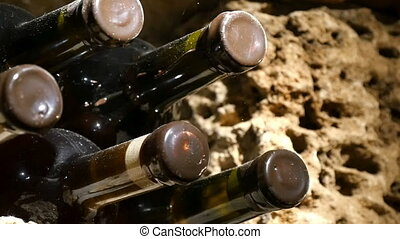 Wine Bottles In A Wine Cellar - Wine bottles in a wine...