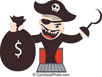 Cyber Pirates - Illustration Cartoon Character of Cyber...