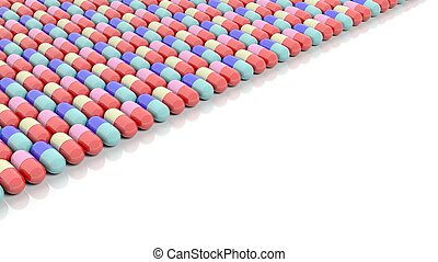 Colorful caplets with copy-space, isolated on white...