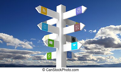 Signpost with apps on blue sky background
