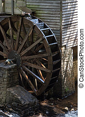 Grist mill water wheel - Wooden water wheel of a grist mill