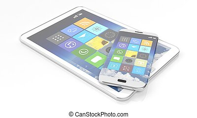 Smartphone and tablet with square apps, isolated on white background.