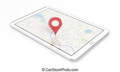 Tablet with map and red pinpoint on screen, isolated on...