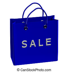 Blue shopping bag with word sale