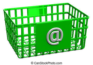 Green shopping basket with sign @