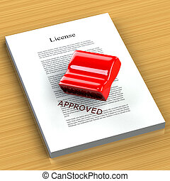 Rubber Stamp Approved - Red Rubber Stamp Approved on the...