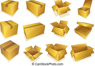 Cardboard parcel icon - Set of 12 opened and closed...