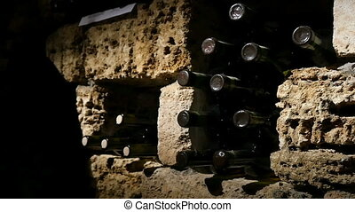 Stacked Up Wine Bottles In The Cellar - Stacked up wine...