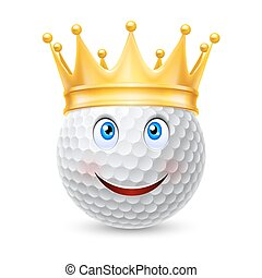Golden crown on  golf ball