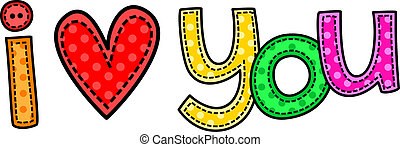 I Love You Stitch Text - Cute hand drawn letters that spell...