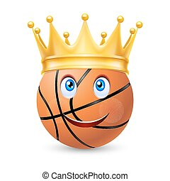 Gold crown on a basketball ball with smiling face