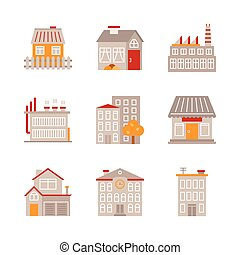 Set of building icons and concepts in flat style