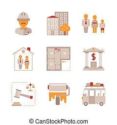 Set of real estate icons and concepts in flat style