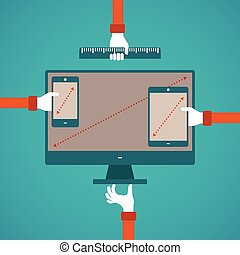 concept of different gadget screen size compartments in flat...