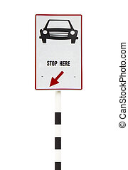 Road, sign stop car isolated on white background