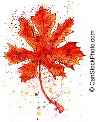 Maple Leaf Painting - Abstract grunge watercolor painting of...