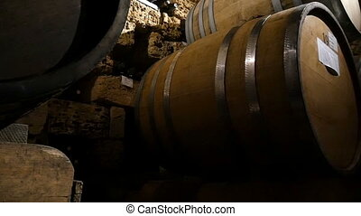 Old Wine Cellar With Barrels - Dolly shot of the old wine...