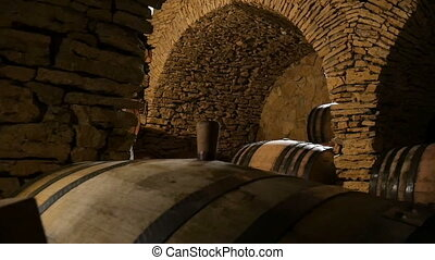 Wine Cellar With Many Wine Barrels - Dolly shot of the wine...