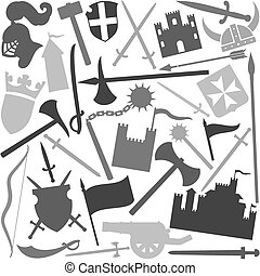 seamless pattern with medieval icons tower, medieval knight...