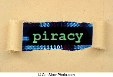 Piracy text on ripped paper