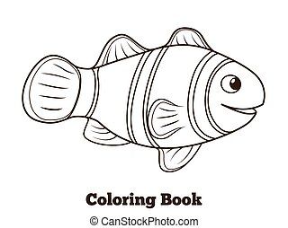 Coloring book clownfish fish cartoon vector - Coloring book...
