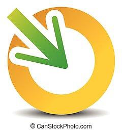 Arrow pointing into a circle. Icon for center, midpoint,...