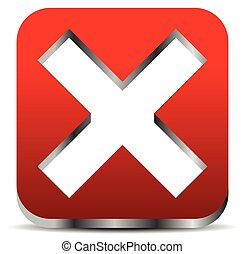 Red cross graphics. Remove, delete button, icon. editable vector