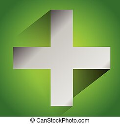 Green cross sign for first aid, healthcare, support concepts...