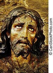 Jesus Christ - figure of Jesus Christ on vintage background