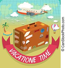 Vacation time with luggage and plane illustration